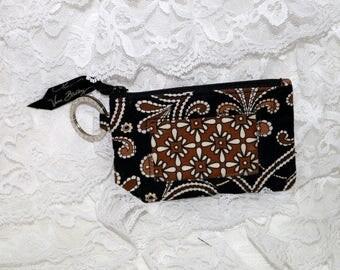 Vera Bradley Coin  ID Purse  - Black White Brown  - Zippered Closure - Retired Pattern