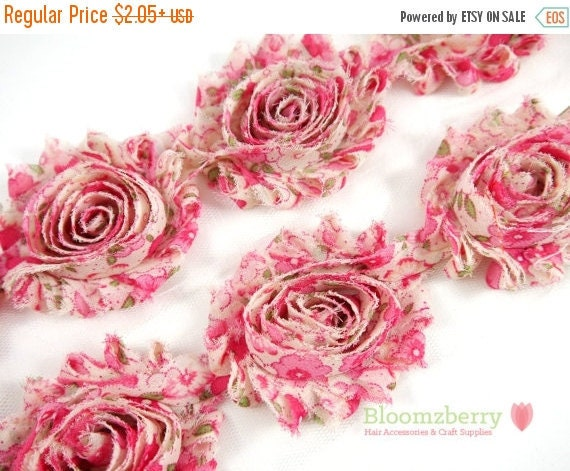 "SPRING SALE 15% OFF 2.5"" Shabby Rose Trim-  Hot Pink Vintage - Pink Shabby Rose Trim - Printed Shabby Trim - Pink Chiffon Trim - Hair Access"
