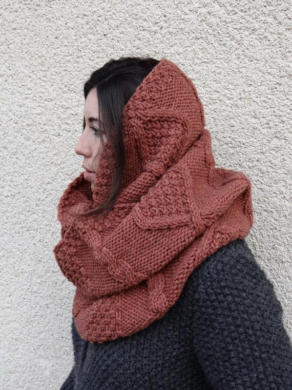 woman aran knit cowl - aran knit scarf - infinity scarf - loop scarf - handknit scarf - wool & yak scarf - circle scarf - girlfriend gift