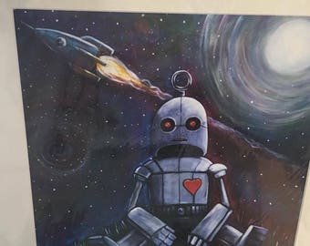 "A3 signed print by Steve Simms ""Lonely robot"""