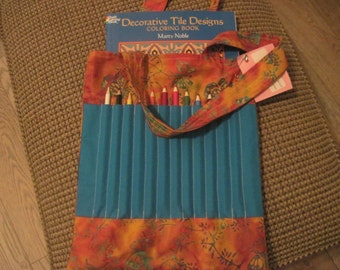Adult coloring book and pencil bag -- brown,  and orange batik