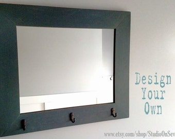 Design Your Own Mirror - Custom Distressed Framed Mirror - Mirror - Mirror with Knobs or Hooks - Horizontal or Vertical