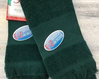 Cross Stitch Towel Set, Hunter Green Stitchers Choice Fingertip Towels Set, Cross Stitching, Terry Cloth E-Z Stitch Border Towel, 14 count