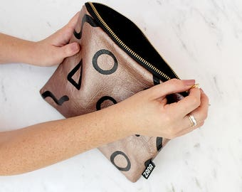 Shapes Bronze Leather Clutch - Printed Leather - Screen Printed leather