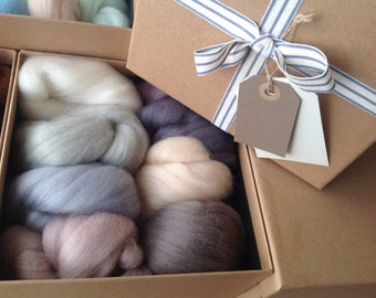 GIFT BOX, Felting Kit, NEUTRAL Colours, Needle-Felting Kit, Wools and Tools, Colour Option, Great gift for a crafty person,