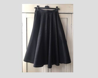 36/ Art deco print/ Black Full circle mid length skirt/ graphic/ rock