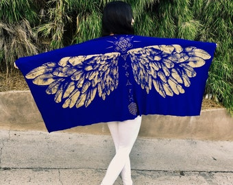 Sacred Geometry Arch Angel Wrap- Scarf- Skirt- Dress-100 Ways to wear it (Royal Blue)