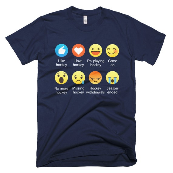 I Love HOCKEY Emoticon (emoji) Social Icon Sayings T-Shirts (Fine Jersey)