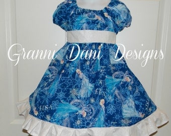 Disney Elsa frozen christmas holiday peasant twirl dress ruffle baby toddler girl 6 12 18 24 months 2t 3t 4t 5t 6 7 8 blue snowflake
