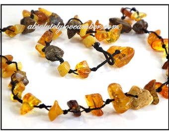 Natural Baltic Amber Necklace  1 STRANDS Multi -color Total cm/inch;45- 47 cm /18′ -18.8′ inch