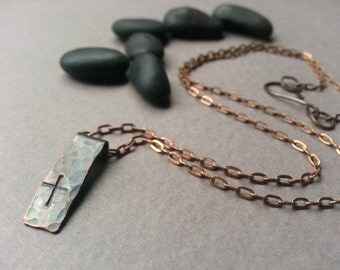 Cross Necklace, Stamped Forged Copper Pendant, Oxidized Copper, Copper Chain, Simple Faith, Christian Necklace, Rustic Metal