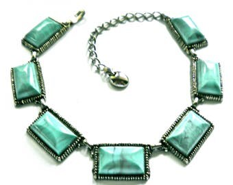 Vintage Statement Necklace Big Chunky Links  Turquoise Blue Plastic Cabs in Silver Tone  1960s