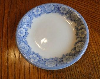 Retired Blue Flower Trinket Dish, Shenango China, Decorative Blue Roses Trim Ring Tray, Blue Floral on White Jewelry Storage Plate
