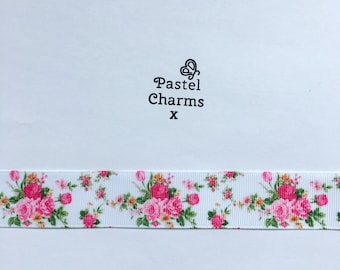 Pretty floral rose ribbon  2 yards 25mm wide x
