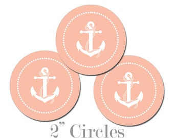 Digital Printable Two Inch Circles with Anchor in Coral Seaside Ocean Nautical Coastal Cupcake Toppers Gift Tags CCTB013