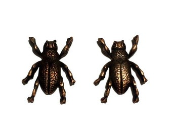 4 Bugs , Antique Copper Ox, Stampings, Brass Bugs