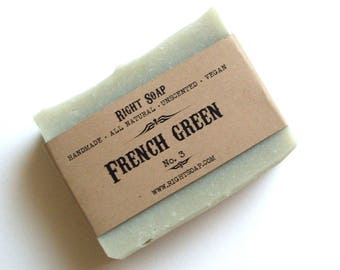 French Green Soap - Handmade soap, Detox Soap, Vegan Soap, Homemade Soaps, Unscented Soap, All Natural Soap, Cold process Soap, Facial Soap