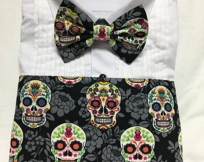 Featured listing image: Dia de los Muertos Sugar Skull Print Cummerbund for a wedding or formal event