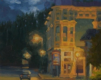 Ferndale - Victorian - Nocturnal - Plein Air - Landscape - Cityscape - Evening - Impressionism - Oil Painting - Northern California - Town