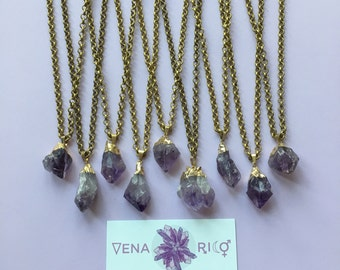 Amethyst Chunk Pendant on Brass Chain - Raw, Crystal, Boho, Chic, Long Necklace