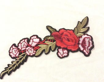 Rose Flower Patch,  Flower Embroidered Patch Appliqué, Iron On Patch, Flower Patch USA Seller
