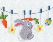 Easter Bunny Clothesline Embroidered Towel | Flour Sack Towel | Linen Towel | Dish Towel | Kitchen Towel | Hand Towel | Gift for Easter