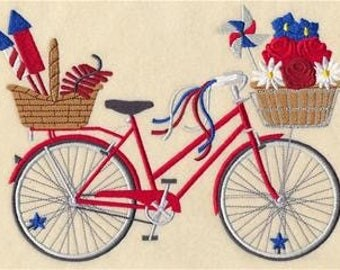 Stars and Stripes Bicycle Embroidered Towel | Flour Sack Towel | Linen Towel | Dish Towel | Kitchen Towel | Hand Towel Embroidery