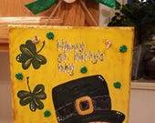 Leprechaun Shamrock Hand painted St. Patty's Day Welcome slate