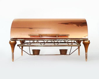 Copper Roll Top Chafing Dish / Mid Century Dinner Party Server / Buffet Food Warmer