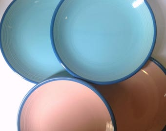 Vintage Rio Century Ceramic Dinner Plates Set of 4 Two Blue and Two Peach with Dark Blue Rims