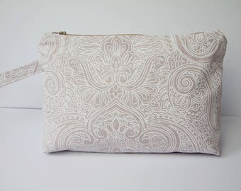 Large Toiletry bag/ travel bag/ cosmetics bag, made with cotton linen fabric and fully lined with water proof fabric
