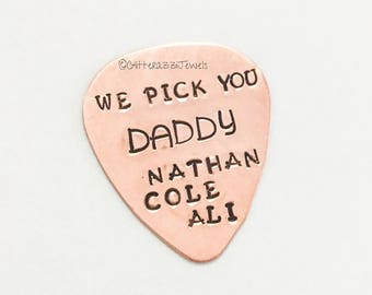 Copper Guitar Pick Dad Grandpa Kids Grandkids Names Personalised Father's Day Birthday Gift For Men Guys Anniversary Option Leather Case