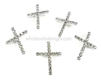 Cross Rhinestone Embellishments - Metal - Easter, Baptism, Wedding - With Shank / Slider Bar 28mm