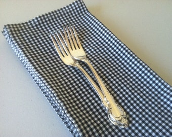 Black / White Gingham Cloth Napkins - Set of 4- 12 inch, by CHOW with ME