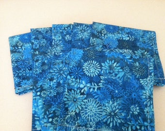 Teal Blue Cloth Napkins - Set of 4- 12 inch, by CHOW with ME