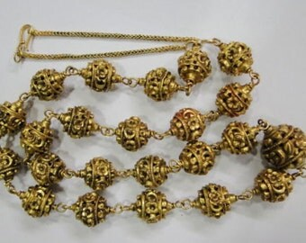 Vintage antique solid 20K Gold Beads Necklace Orissa India