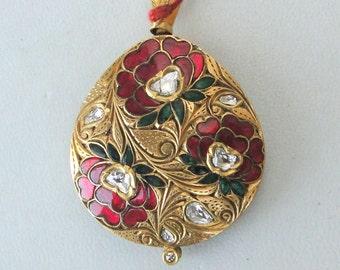 Vintage Antique 22k Gold Diamond Polki Kundan Enamel Work Pendant Necklace India