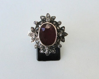 Victorian Diamond Ruby 14 K Gold Silver Finger Ring India