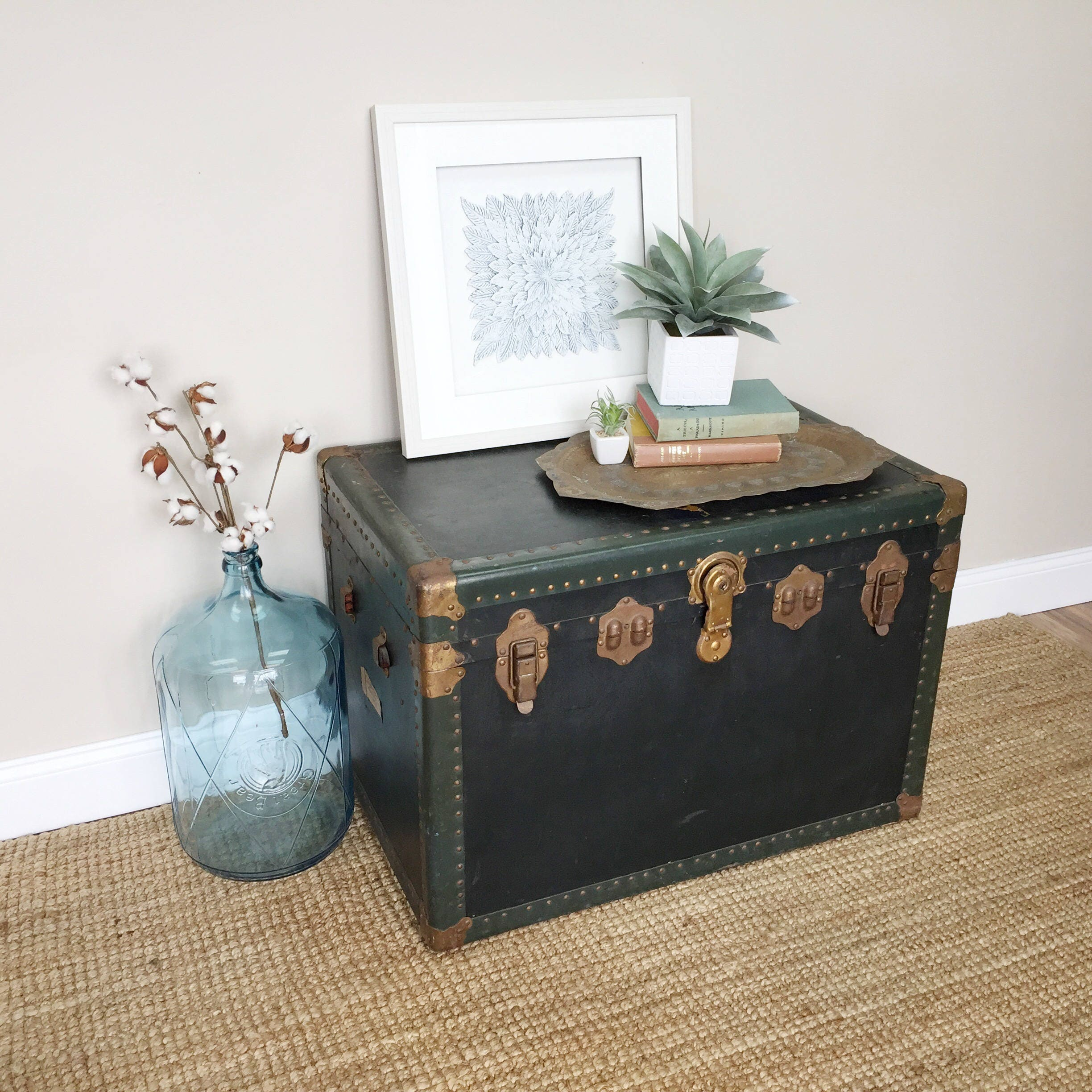 Steamer Trunk Coffee Table Vintage Trunk Storage Chest Trunk