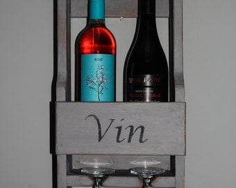 Grey shabby chic 2 bottle and 2 glass wine rack