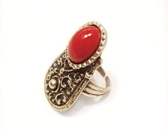 Vintage Adjustable Ring Oval Coral Cabochon Silvertone