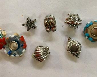 8 Seashore Themed  Beads  for European  or Pandora Style Bracelet