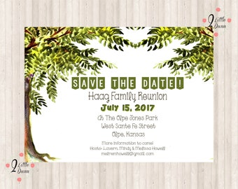 Save The Date Flyer   Family Reunion Trees   PRINTABLE DIGITAL INVITATION  Family Reunion Flyer