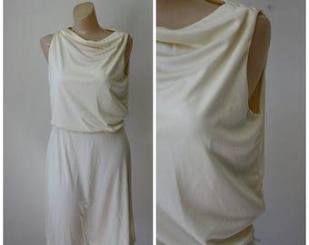 Sale Vintage 1970's Dress / Fancy Frock / Ivory Disco Dress / Sears Fashion Dress / Vintage Disco Dress / Vintage Dress S/M