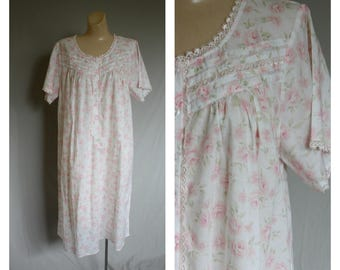 Victorias Secret Queens Nightgown / Deadstock Victorian Rose Nightie / Vintage Lingerie / Cotton Plus Size Nightgown XL