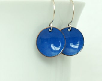 Cobalt Blue Enamel Earrings - Harvest Blue - Enamel Jewelry