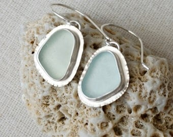 Seafoam Green and Soft Aqua Blue Sea Glass Earrings - Natural Sea Glass, Genuine Sea Glass - Sea Glass Jewelry