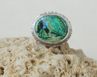 Monarch Opal Oval Ring, Size 6 1/2 - Cultured Opal Ring, Cultured Opal Jewelry, Monarch Opal Jewelry, Galaxy Opal, Monet Opal, Cocktail Ring