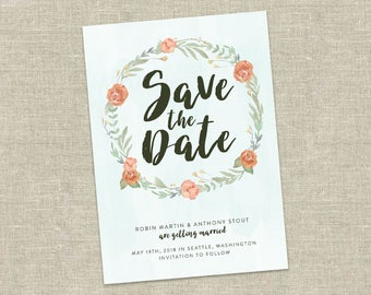Watercolor Floral Save the Date / Card Printable Wedding Save the Date / Peach and Green Floral / Floral Wreath / DIY