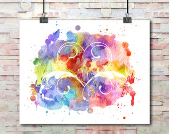 Watercolor Splash Painted Heart Swirls Cutout | Digital Print | Instant Download Printable Wall Art | Print At Home Art For Your Walls | Art
